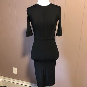 H&M Black Bodycon Midi Dress